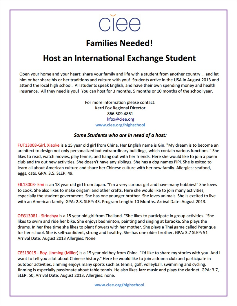 CIEE Families Needed to Host an International Exchange Student