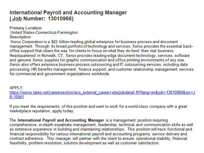 Xerox International Payroll and Accounting Manager